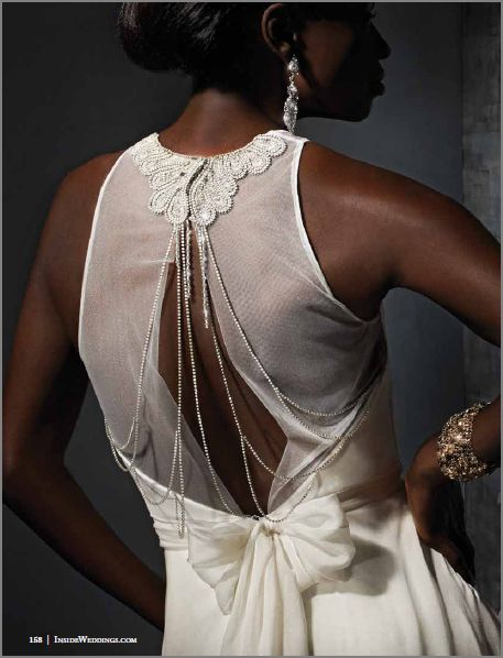 the art deco inspired back of the Rhea dress, featured in Inside Weddings magazine